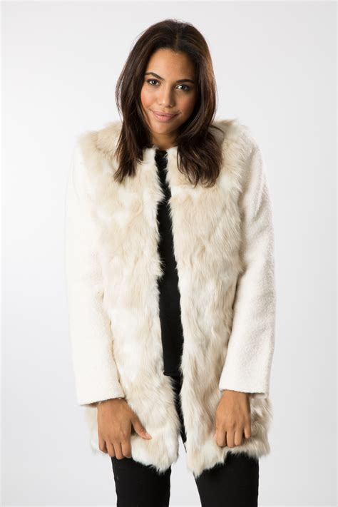 Top With Faux Fur Detail On The Sleeves a g faux fur zip up jacket with boucle sleeves ebay