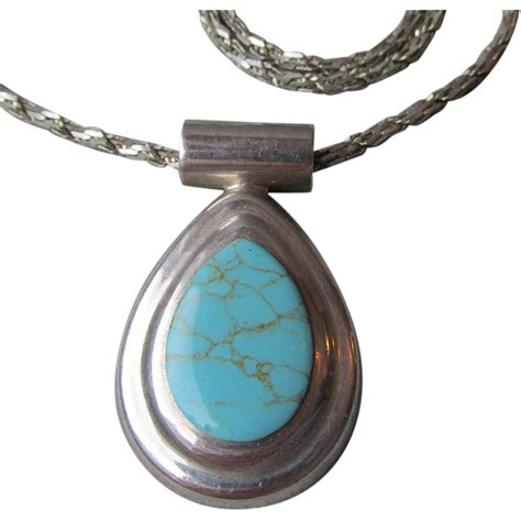 Sterling Silver Pendant Necklace vintage sterling silver turquoise oval pendant necklace