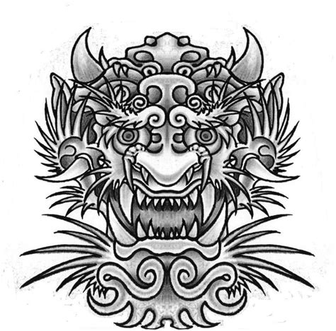 dragon face tattoo designs black ink japanese flower design