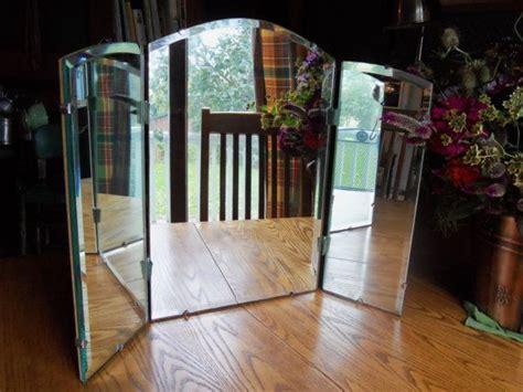 tri fold  standing vanity table mirror vintage tri