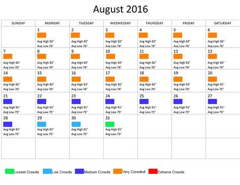 Disney World Crowd Calendar 2016 August 2016 Disney World Crowds Weather Calendar Walt