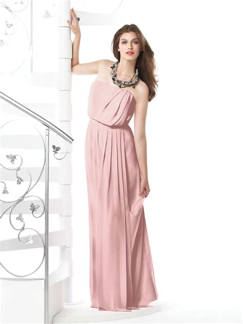 dresses with drapes pearl pink column strapless zipper floor length chiffon