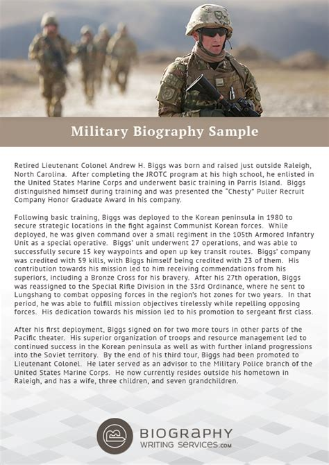 military biography format military biography format writing