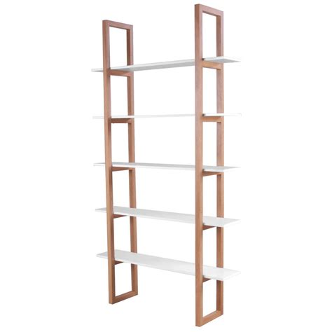 interstil 5 shelf free standing bookcase real oak white