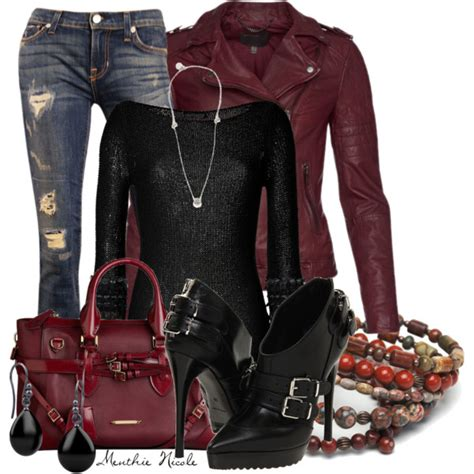 what looks good with red burgundy leather jacket polyvore