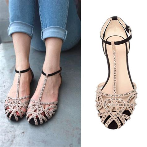 Gladiator Flatshoes rhinestone cut out t strappy gladiator flat shoes womens