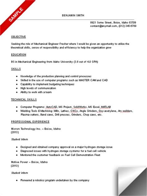 Resume Career Objective Mechanical Engineer Mechanical Engineering Student Resume Sle