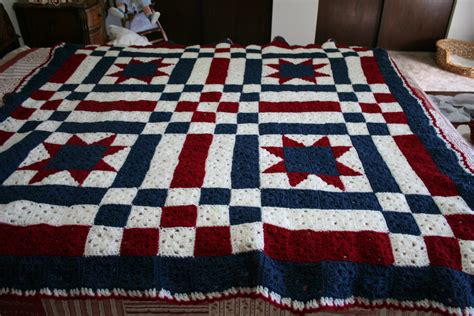 quilt pattern crochet afghan patriotic ooak crocheted patchwork quilt by 3rdtreeontheright