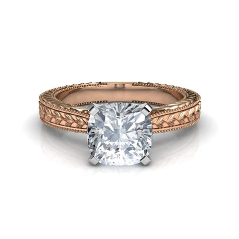 Engraved Solitaire Engagement Ring In 18k Yellow Gold by 2 00 Carat Engraved Cushion Cut Engagement