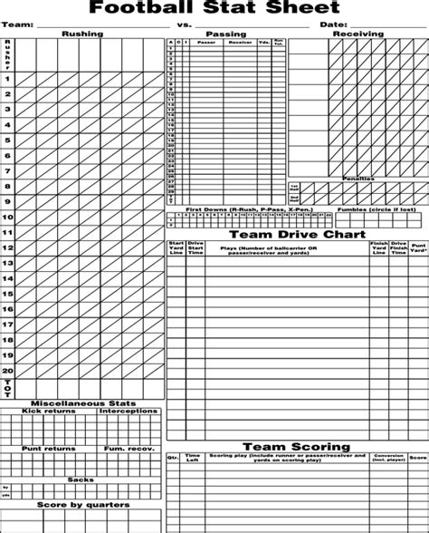 download blank football stat sheet for free formtemplate