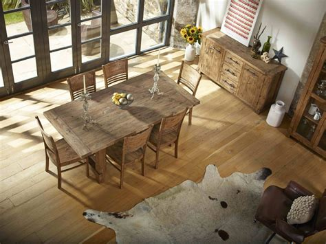 country reclaimed solid wood farmhouse dining table set at