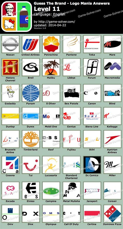 Branded Sale Guess 4 guess the brand logo mania level 11 solver