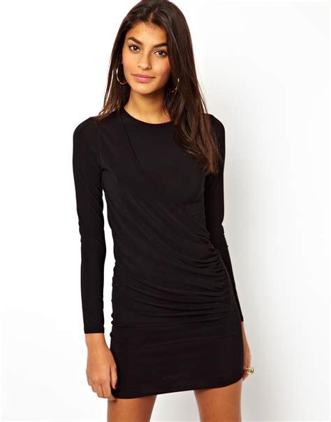 Asos Ruched Draped Mini Dress In Black Lyst