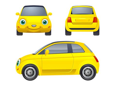 cartoon car back car cartoon back