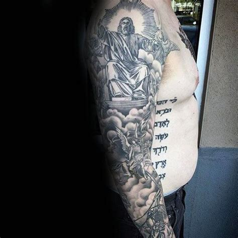 jesus tattoo with clouds 50 jesus sleeve tattoo designs for men religious ink ideas