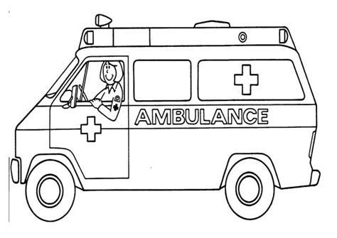 Coloring Page Of An Ambulance | ambulance color pages google search community helpers