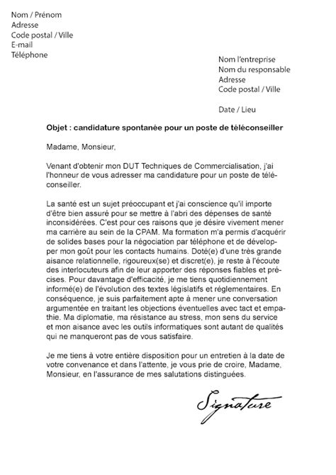 Lettre De Motivation Teleoperateur Exemple