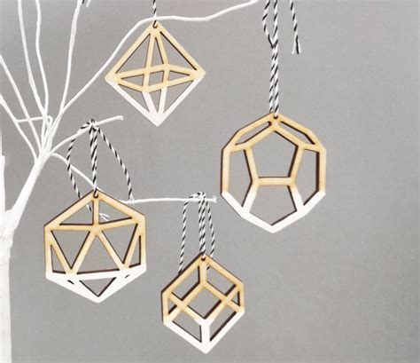Laser Decorations - geometric ombre white tree ornaments decorations