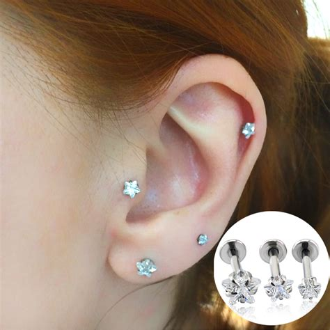 fashion jewelry ear stud zircon prong set top