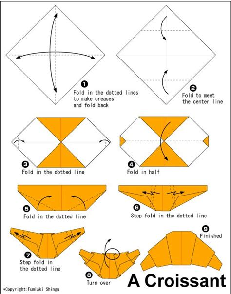 Teaching Origami - origami croissant translate into use to teach