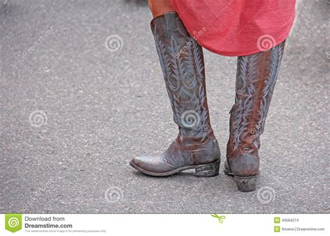 wearing western cowboy boots stock photo image