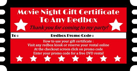redbox printable gift certificates redbox party favor sweetdesignsbyregan