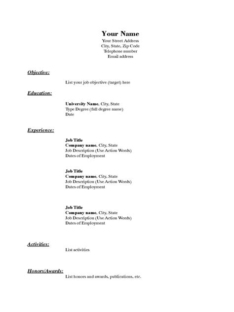 resume basics basic resume template 5 free templates in pdf word