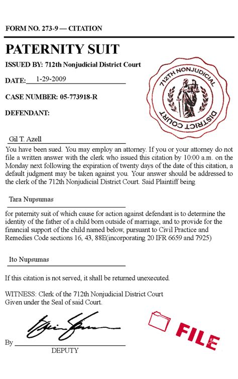 up letter prank paternity suit tort filing form forgery child support