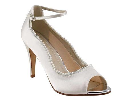 rainbow club ivory satin peep toe wedding shoe