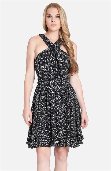 Amara Dress Casual cynthia steffe amara print cross neck silk dress in black black print lyst