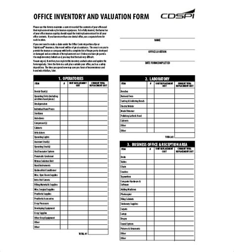 Sample Inventory List   11 Free Word, Excel, PDF Documents