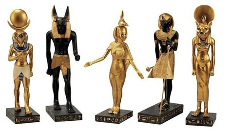 ancient egyptian collection statue  horus anubis serqet