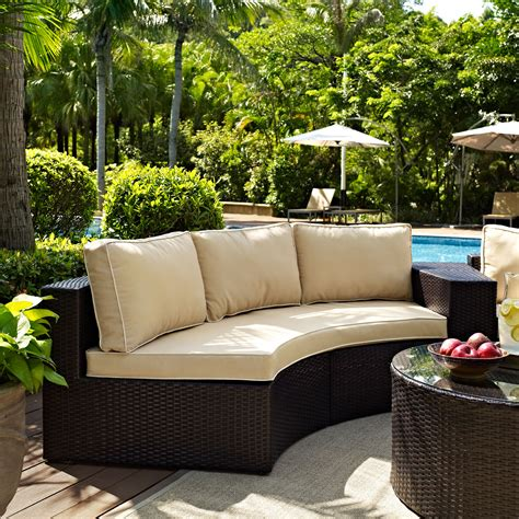 Catalina Outdoor Wicker Round Sectional Sofa With Sand
