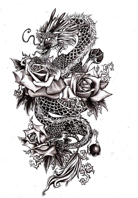 rose and dragon tattoos dragonrose by vvveverka on deviantart