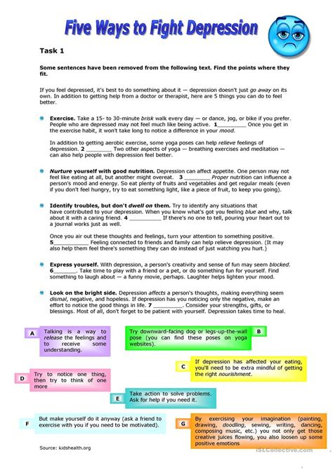 Depression Worksheets For Adults by Five Ways To Fight Depression Worksheet Free Esl