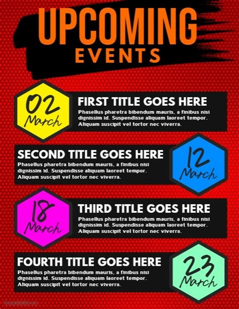 Upcoming Events Flyer Template Postermywall Upcoming Events Flyer Template