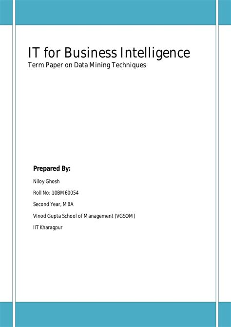 business intelligence research paper it for business intelligence term paper