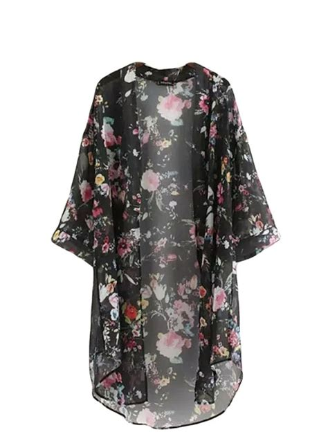 Cardigan Kimono bluetime s 3 4 sleeve floral high low chiffon kimono