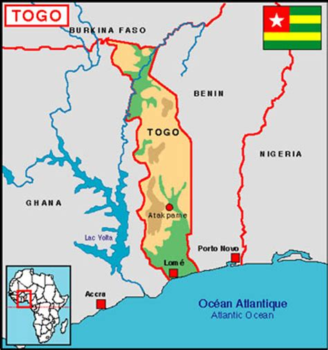 map of togo in africa lome map map