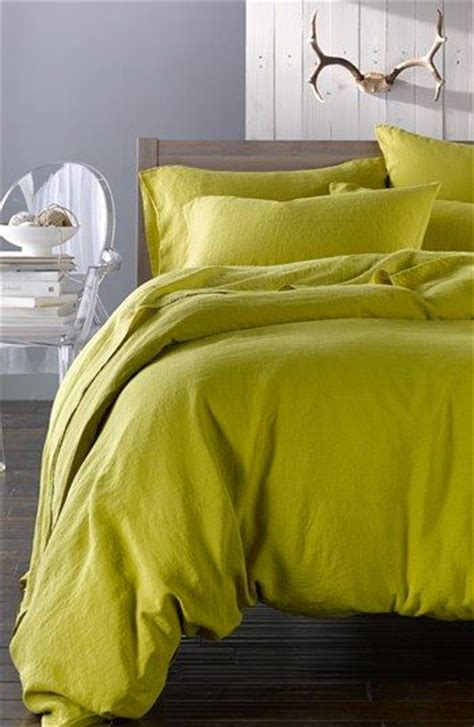 chartreuse bedding merci washed linen queen size duvet cover nordstrom