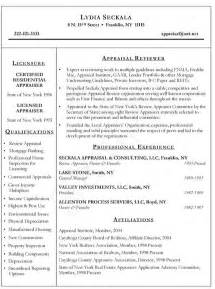 real estate appraiser resume exle