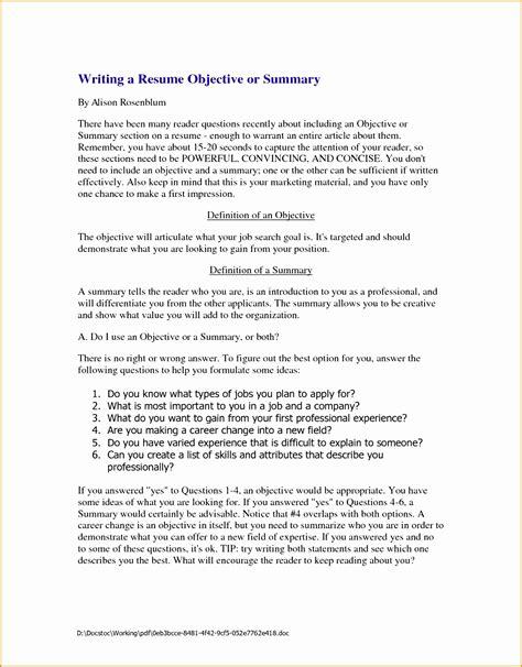 4 writing resume objective summary free sles