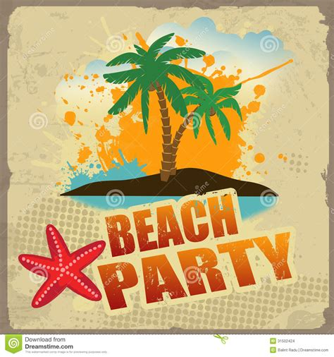 tropical beach party poster stock vector image
