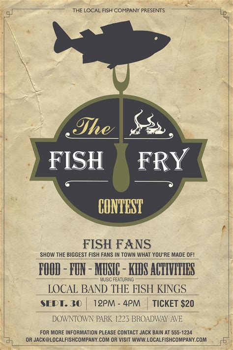 poster design how much to charge fish fry poster