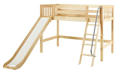 loft beds with slide maxtrix mid height loft bed w angled ladder and slide full size