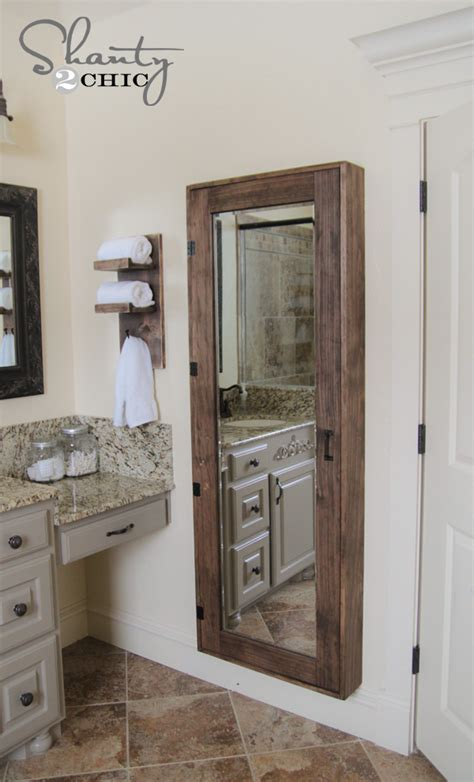 Bathroom Mirror With Storage Inside Diy Bathroom Mirror Storage Shanty 2 Chic