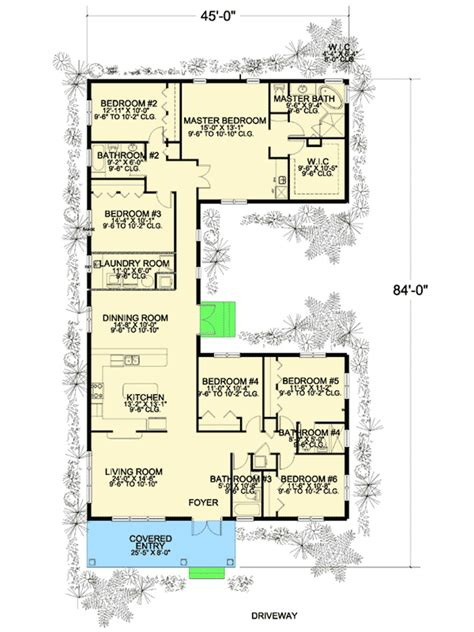 plan 32221aa 6 bedroom u shaped house plan open floor