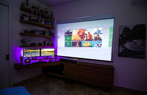 projector bedroom quot nature quot custom dual monitor setup projector monitor consoles and pc