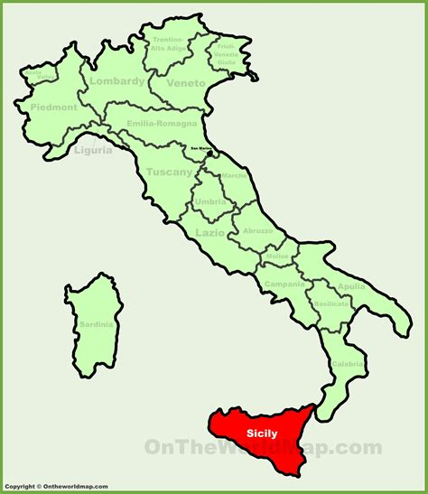 map of sicily italy sicily location on the italy map