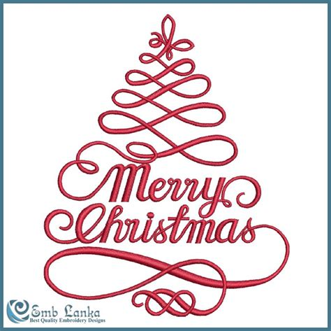 merry christmas with christmas tree embroidery design